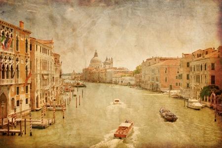 Geweldig uitzicht op het Canal Grande in Venetië in grunge stijl, Italië