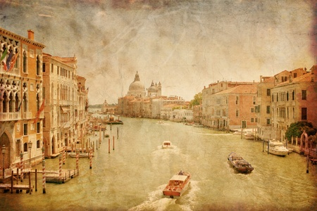 venice bridge: Great view on Grand Canal in Venice in grunge style, Italy