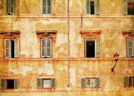 old building facade: Old brick wall with windows in Venice. Italy