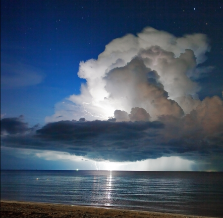 Lightning above the sea in tome of storm. Thailand  photo
