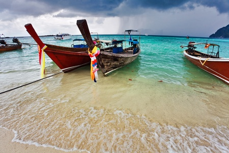 Boats in the tropical sea. Phi Phi island. Thailand  photo