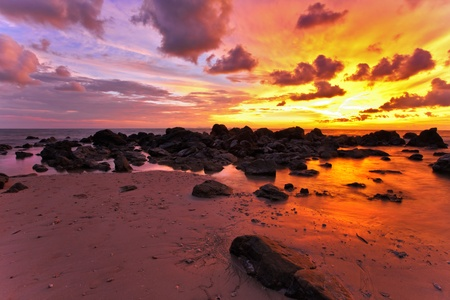 Tropical beach at sunset. Nature background Stock Photo - 10625635