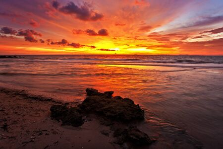 Tropical beach at sunset. Nature background  photo