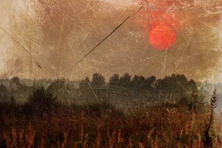 grunge image of field under sunset  sky photo