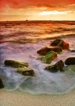 Tropical beach at beautiful sunset. Nature background  photo
