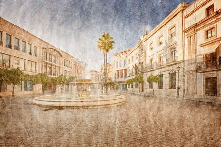 In old Spanish town in grunge and retro style  photo