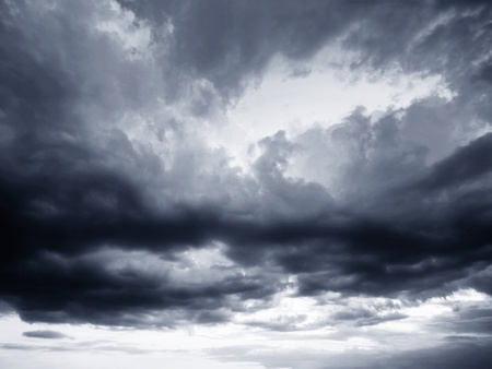 Rain clouds  and gloomy sky in black and white Stock Photo