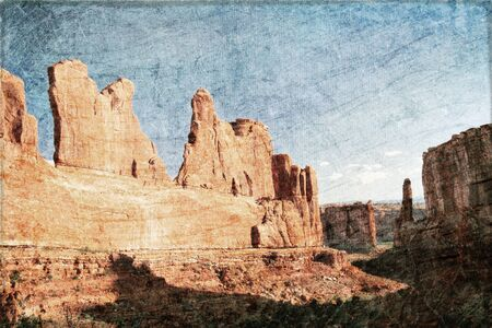 Beautiful view  in Arches canyon in sunny day in grunge style and retro. USA  photo