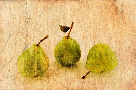 Fresh apple and pears close-up in grunge and retro style.  photo