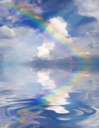 Abstract Rainbow on the sky with reflection  photo
