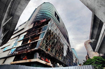 BANGKOK - JUNE 11: Fire damaged exterior of Central World Plaza shopping mall is seen in the aftermath of the anti government