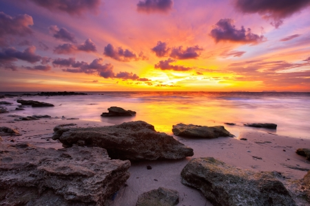 red morning: Tropical beach at beautiful sunset. Nature background