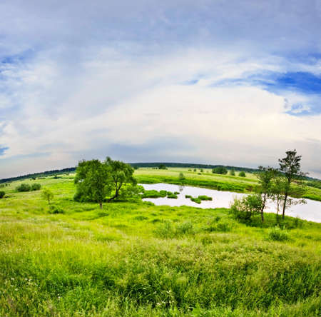 Landscape with coloful sunset in summer field Stock Photo - 11873600