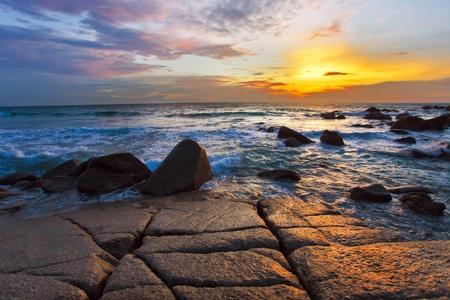 Tropical beach at beautiful sunset. Nature background Stock Photo - 12108507