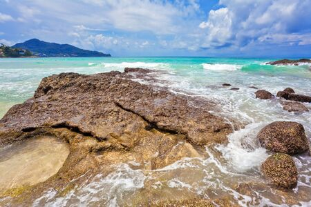 Beautiful tropical beach with  sea view, clean water & blue sky. Nature background Stock Photo - 12108512