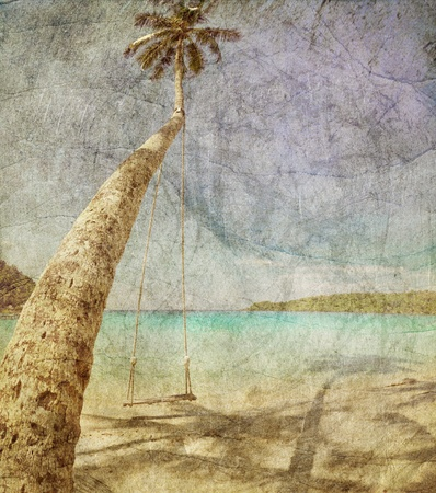 Beautiful tropical beach with  sea view, clean water   blue sky in retro and grunge style  Nature background Stock Photo