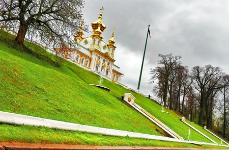 This beautiful church is situated in Petergof, St  Petersburg, Russia  photo