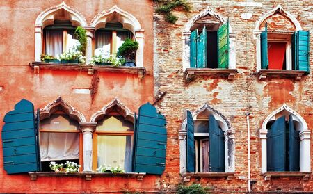 Old brick wall  in Venice  Italy
