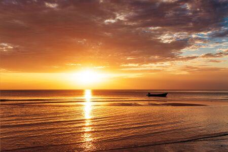 Tropical beach at beautiful sunset. Nature background Stock Photo - 12999678