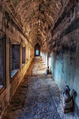 Ancient corridor at Angkor Wat  in Siem Reap, Cambodia.  Stock Photo