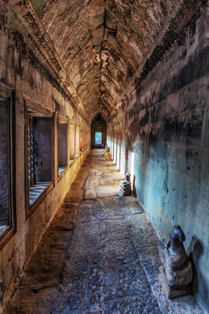 Ancient corridor at Angkor Wat  in Siem Reap, Cambodia.  Stock Photo