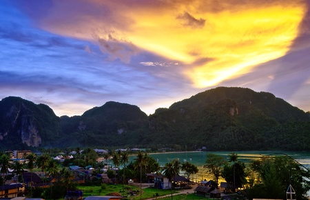 Tropical colorful sunset. Thailand  Stock Photo - 13596463