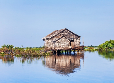 house float on water: The village on the water  Tonle sap lake  Cambodia