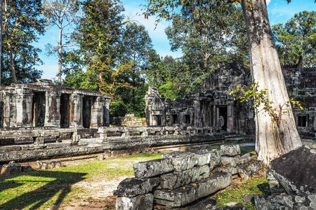 Ancient buddhist khmer temple in Angkor Wat complex, Cambodia photo