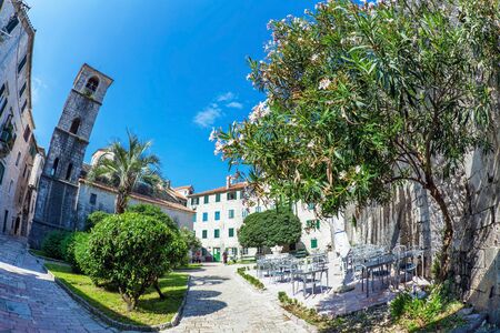 Fish-eye lens look of the old city on sky background  Kotor  Montenegro Stock Photo - 14474576