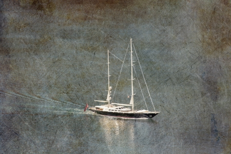 The white yacht in the blue sea i grunge and retro style photo