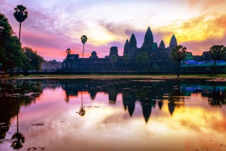 Angkor Wat sunrise at Siem Reap  Cambodia Stock Photo