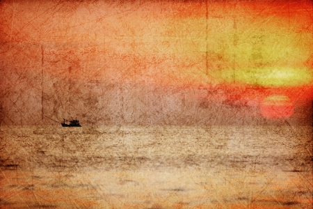 Tropicalsea at beautiful sunset in grunge and retro style  Nature background  photo