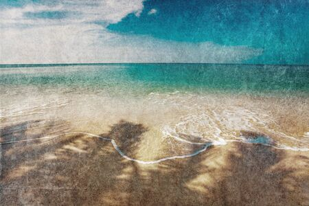 Beautiful tropical beach with  sea view, clean water   blue sky in retro style   Nature background photo