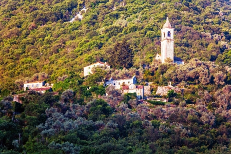 moutains:  view on old ortodox church at moutains, Montenegro Stock Photo