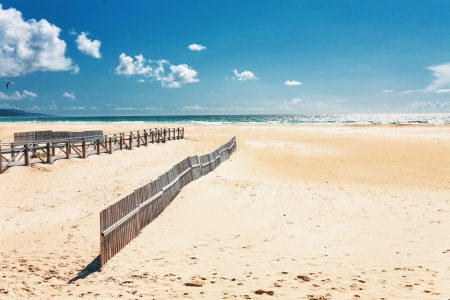 tarifa: Beautiful view on beach and ocean, Spain, Tarifa  Stock Photo