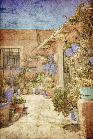 Flowers in flowerpot on the walls on streets of Tarifa in retro style  Spain  photo