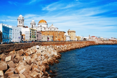 Embankment along the sea and the old Spanish town  Tarifa  Spain