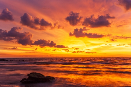 Tropical beach at beautiful sunset  Nature background  Stock Photo