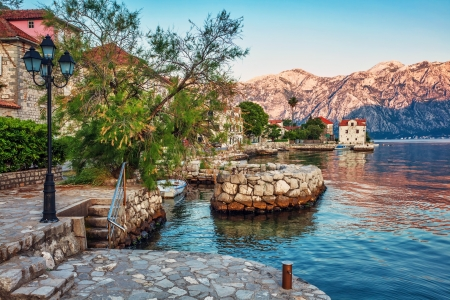 seafront with sea and mountain views. Montenegro