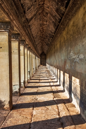 Ancient corridor at Angkor Wat  in Siem Reap, Cambodia   photo