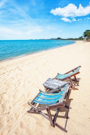 sun beach chair on shore near sea. Thailand Stock Photo - 15505876