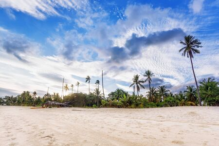 Beautiful tropical beach with  sea view, clean water & blue sky. Nature background Stock Photo - 15505843