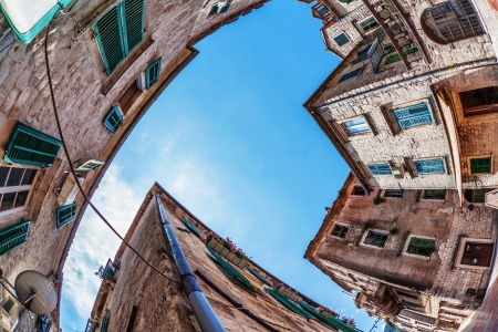 Fish-eye lens look of the old city on sky background  Kotor  Montenegro Stock Photo - 15512704