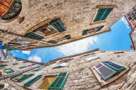 Fish-eye lens look of the old city on sky background  Kotor  Montenegro Stock Photo - 15512710