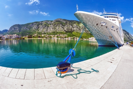 cruise ship in the port of Kotor  Montenegro Stock Photo