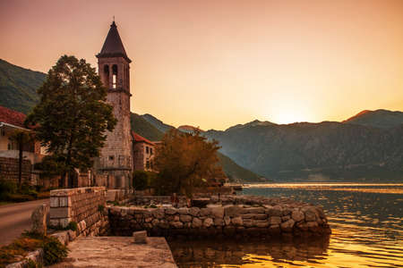 Sunset on the sea with the foggy mountains  Montenegro Stock Photo - 15829691