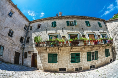Fish-eye lens look of the old city on sky background  Kotor  Montenegro Stock Photo - 15847461