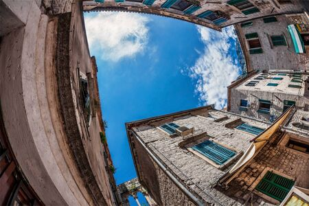 Fish-eye lens look of the old city on sky background  Kotor  Montenegro Stock Photo - 15869182