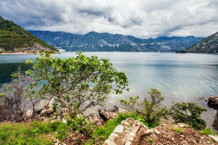 sea and mountains in bad rainy weather  Montenegro Stock Photo - 15829723