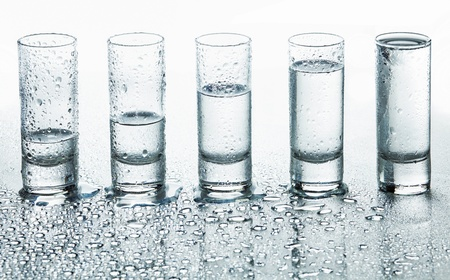 Abstract glasses for drink in water drops photo